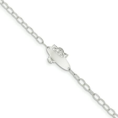 Sterling Silver Polished Angel Baby Engraveable ID - Angel Silver Bracelet