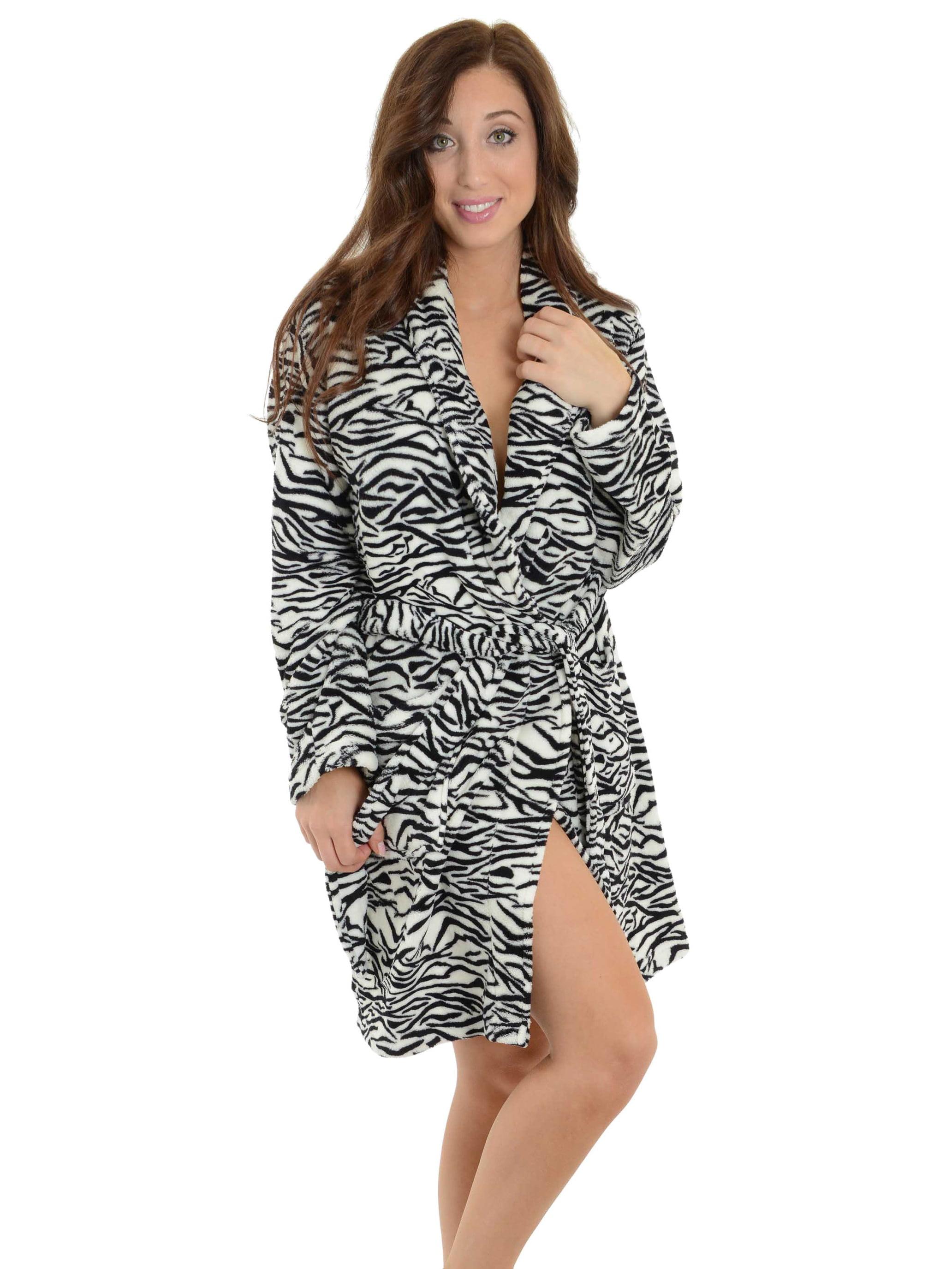 New Ladies Super Soft Animal Print ZEBRA Dressing gown robe wrap Black White