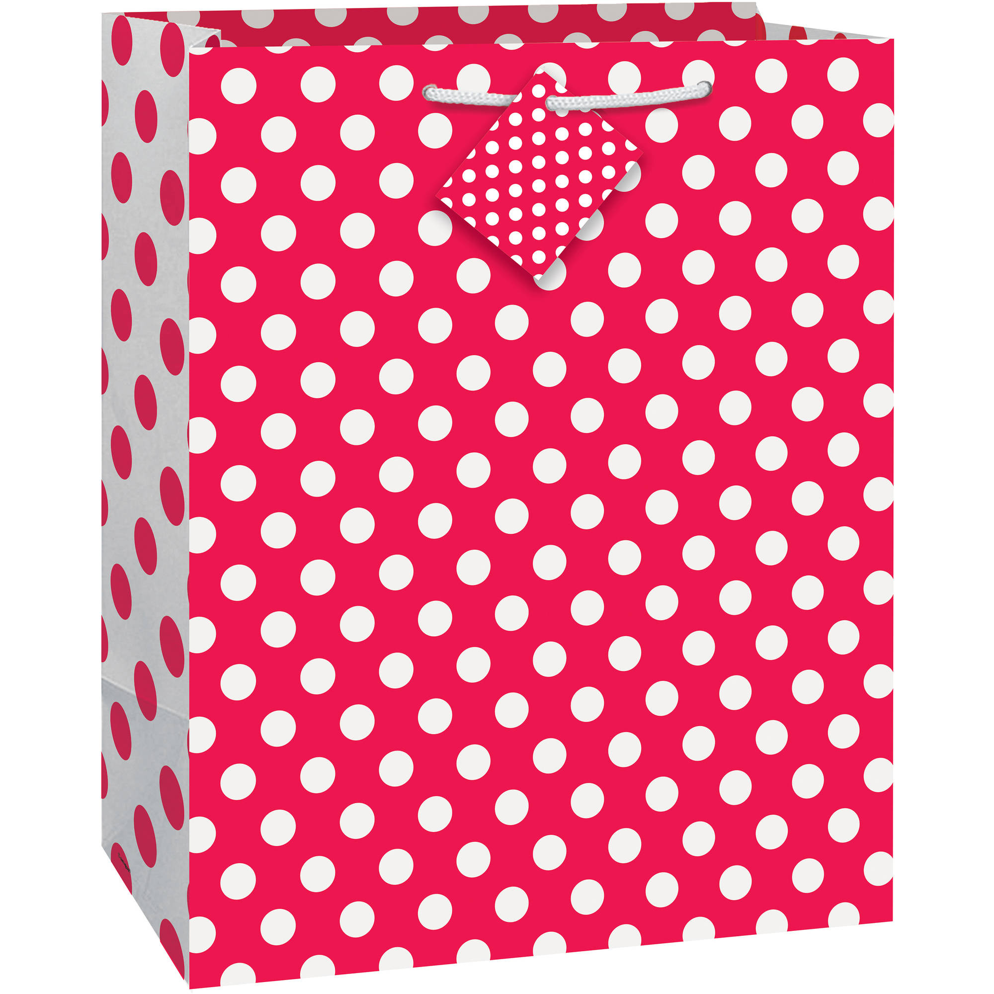 "Red Polka Dot Gift Bag, 12.75"" x 10.5"""