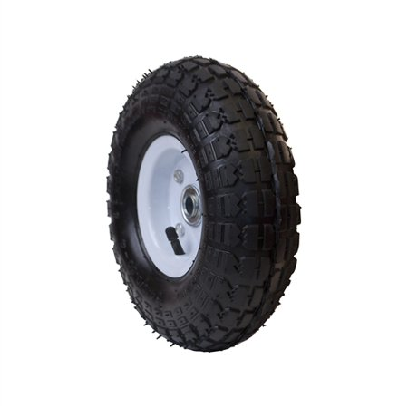 ALEKO WAP10 Pneumatic Turf Replacement Wheel for Wheelbarrow 10 Inch Air Filled Turf Tire for Hand Trucks and Lawn Carts, Black Tire White Rim ()