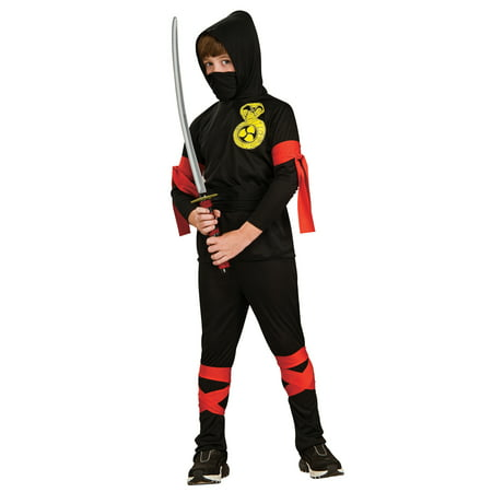 Ninja Boys Karate Kid Black/Red Hooded Halloween Childs Fancy Costume S-L - Karate Costumes For Kids