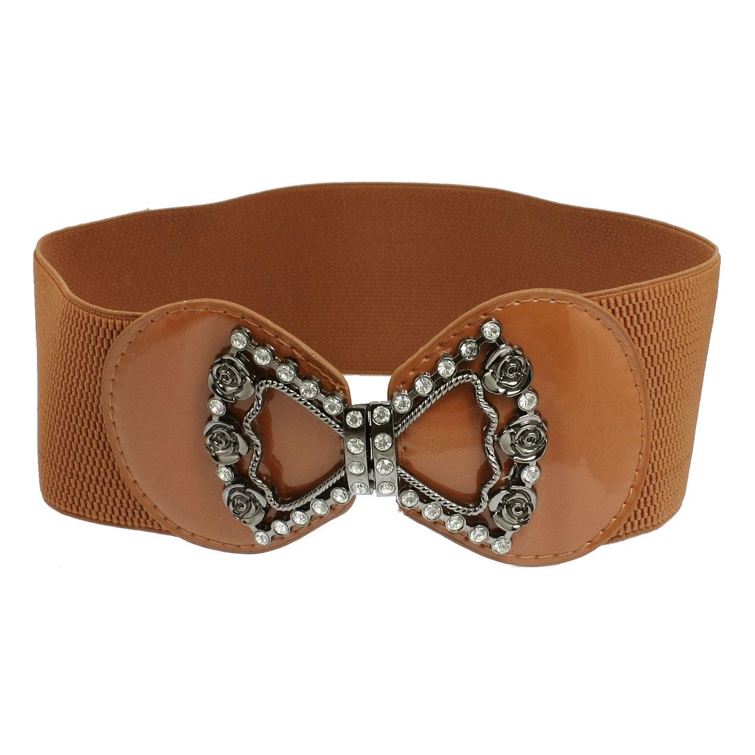 bowknot design interlock buckle wide stretch belt