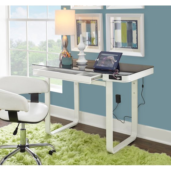 Powell Lynk Desk With Adjule Height White