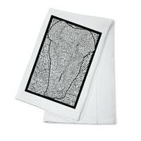 Asian Elephant - Coloring Book - Lantern Press Artwork (100% Cotton Kitchen Towel)
