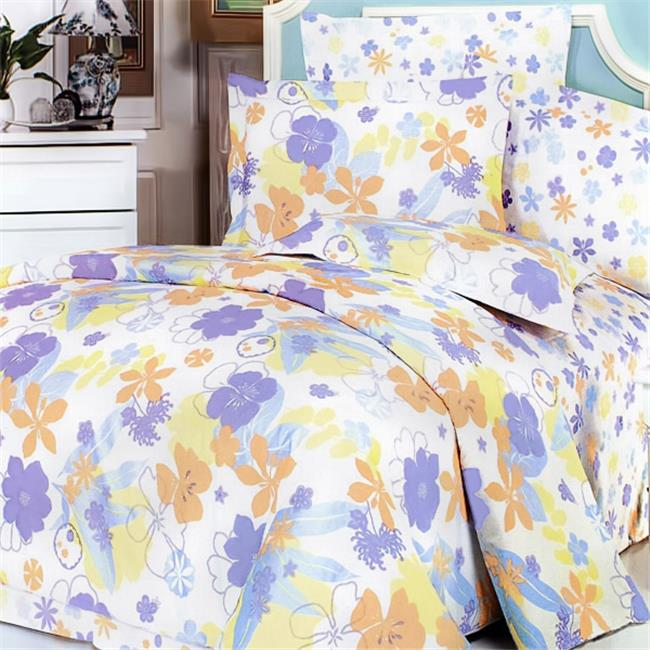MF02-4/CFR01-4 Purple Orange Flowers 5 Piece King Comforter Set