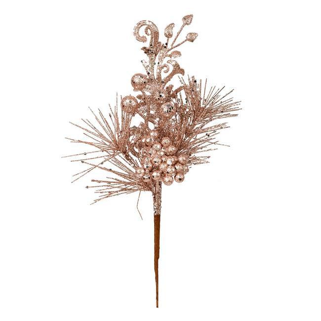 "Vickerman 555309 - 10"" Rose Gold Berry Glitter Leaf Pick (12 pack) (L185558)"