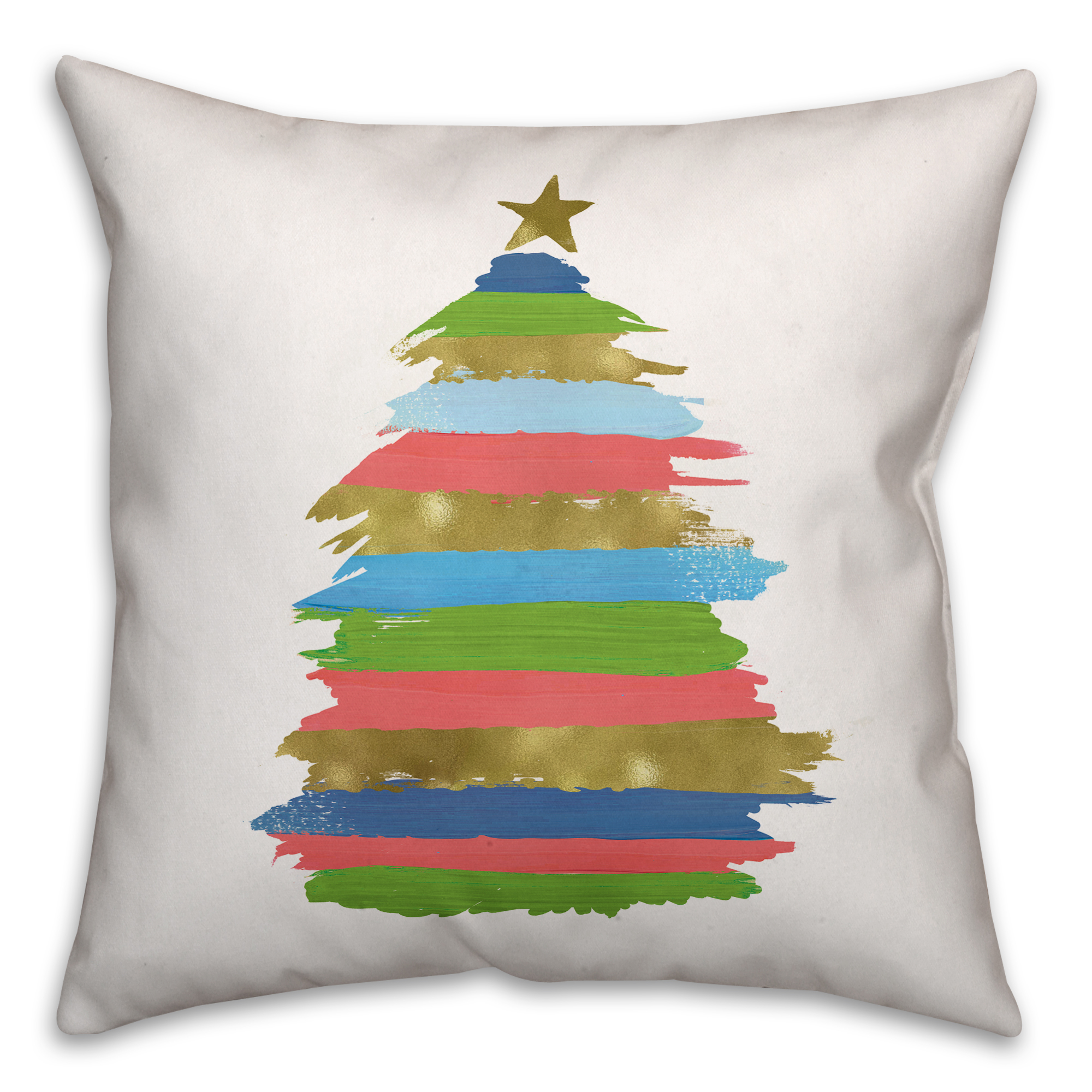 Colorful Christmas Tree 18x18 Spun Poly Pillow