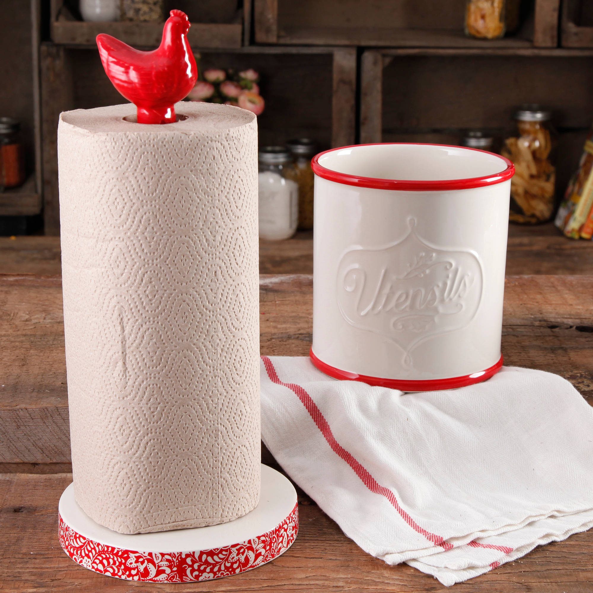 The Pioneer Woman Flea Market Stoneware Red Paper Towel Holder And Crock