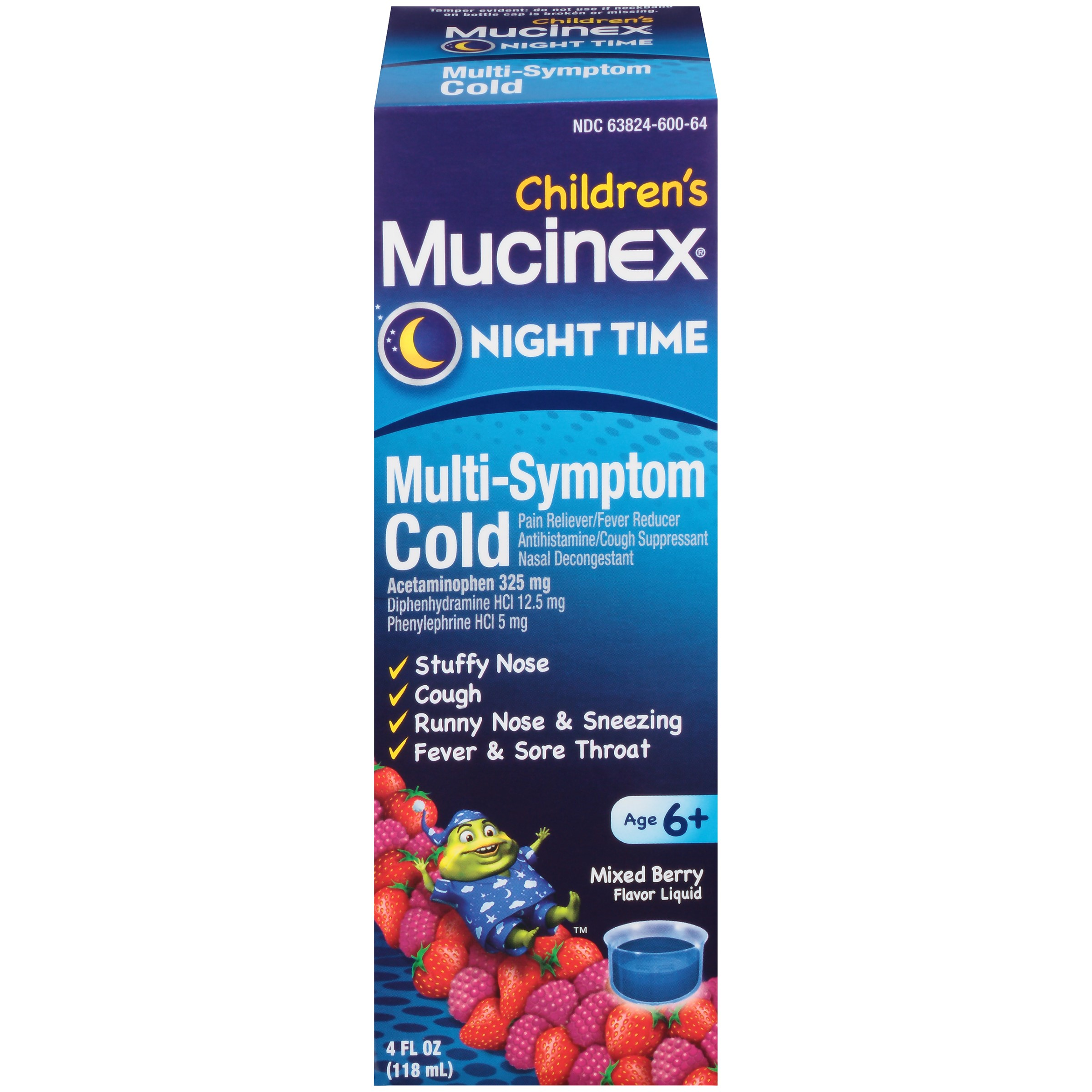 Mucinex Children's Multi-Symptom Nighttime Cold Liquid, Very Berry Flavor, 4 Ounce