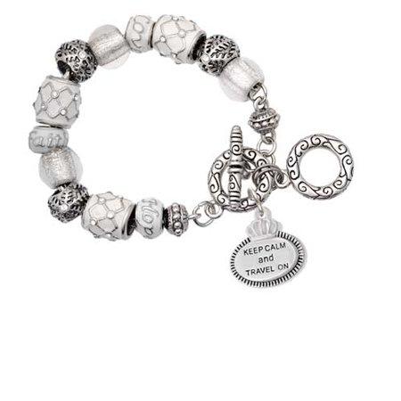 Silvertone Keep Calm and Travel On White Snowflake Bead Charm - Travel Charm Bracelet