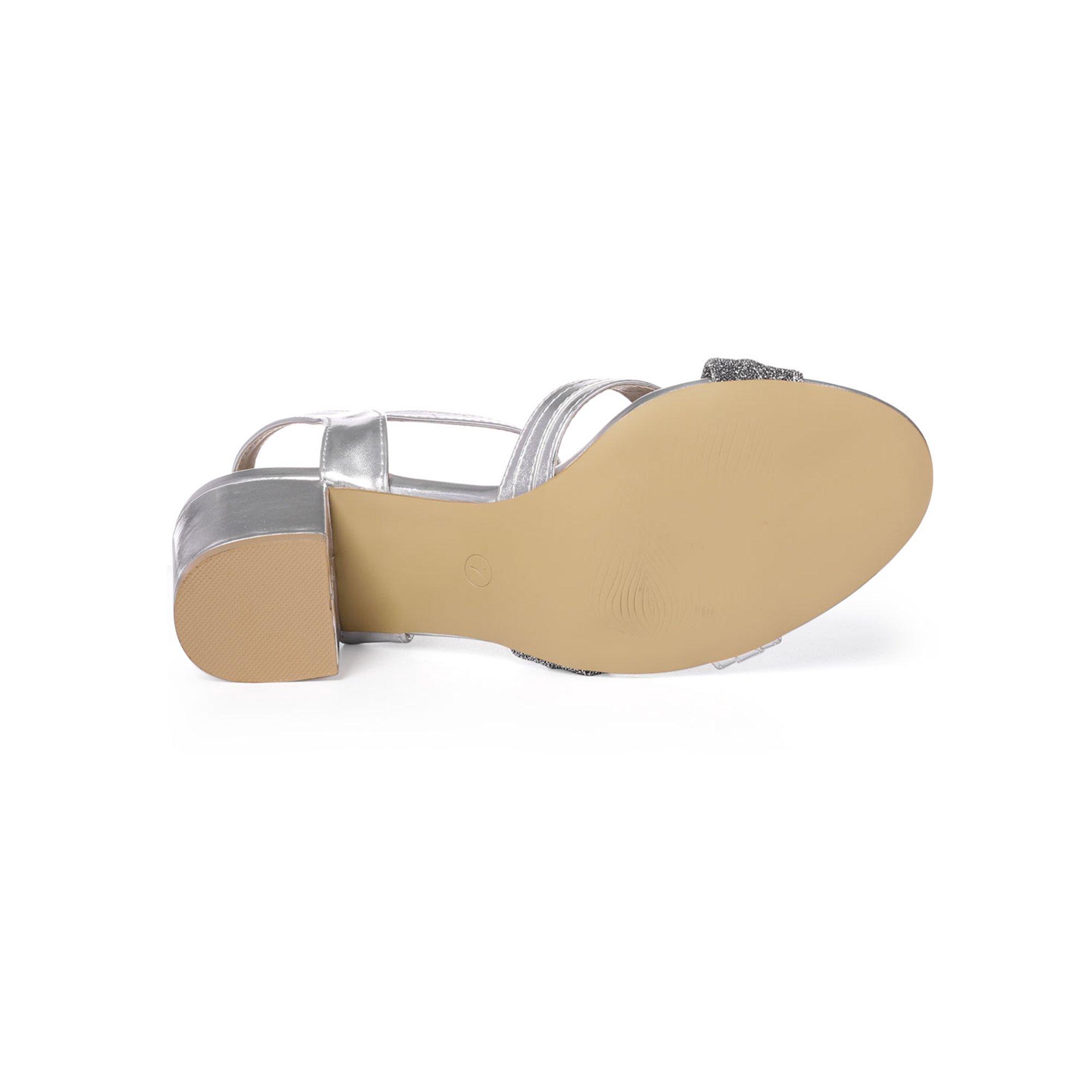 175b5a1ed8e8d2 Unique Bargains Women s Glitter Knot Block Heel Dress Sandals Silver (Size  7.5)