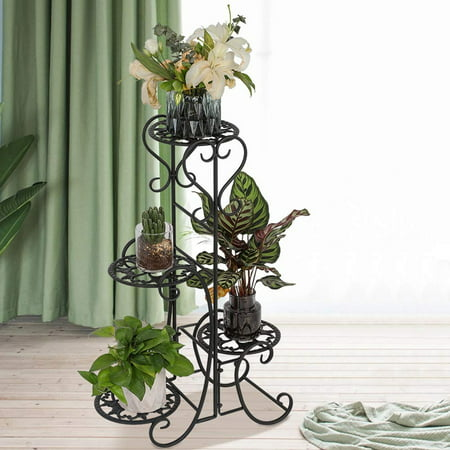 Plant Stand Metal Flower Holder Pot with 4 Tier Garden Decoration Display Wrought Iron 4 Layers Planter Rack Shelf Organizer for Garden Home (Wrought Iron Wall Mounted Flower Pot Holder)