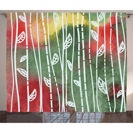 Dirty Windows - Watercolor Curtains 2 Panels Set, Doodle Style Leaves on Stems Grunge Motley Backdrop Dirty Look Exotic, Window Drapes for Living Room Bedroom, 108W X 90L Inches, Jade Green Yellow Red, by Ambesonne