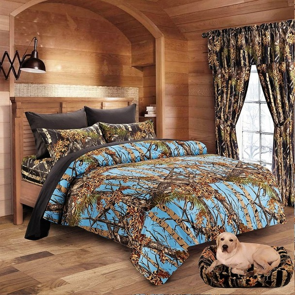 Powder Blue Camo Comforter and Forest Camo Sheet Set [Color: Forest,Size: Full]