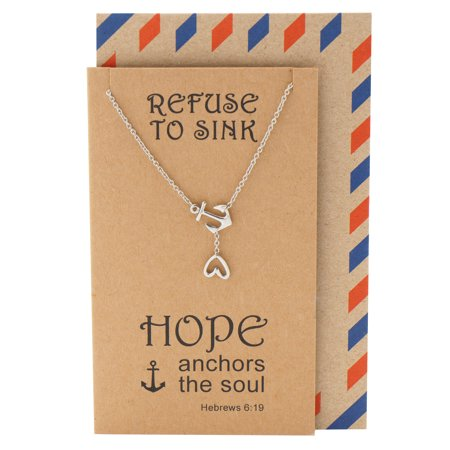 Quan Jewelry Hope Heart Lariat Nautical Anchor Necklace, Christian Jewelry, Sympathy Gifts, Inspirational Quotes on Greeting Card, Silver Tone