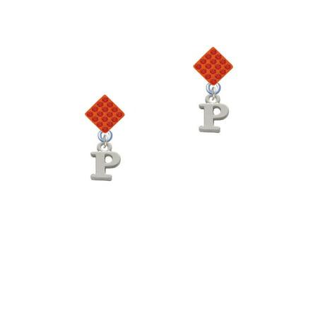 Small Greek Letter Rho Orange Crystal Diamond Shape Earrings