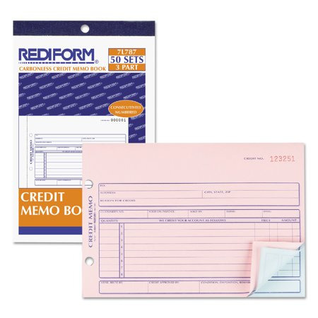 Carbonless Credit Card (Rediform Credit Memo Book, 5 1/2 x 7 7/8, Carbonless Triplicate, 50 Sets/Book)