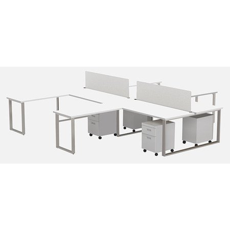 MARVEL AIRE ARTY005DWTT L-Shape Desk Pods (4),Privacy Screens (4), Mobile  Peds