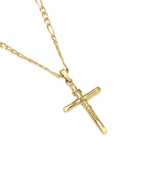 """14K Gold Plated Sterling Silver INRI Crucifix Cross Pendant Figaro Chain Necklace - 080 3.0mm - 16"""""""