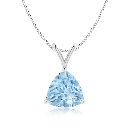 Mother's Day Jewelry - Claw-Set Trillion Aquamarine V-Bale Pendant in 14K White Gold (8mm Aquamarine) - SP0751AQ-WG-AAA-8