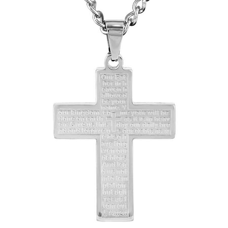 Stainless Steel Lord's Prayer Cross Pendant Necklace - (Prayer Wheel Necklace)