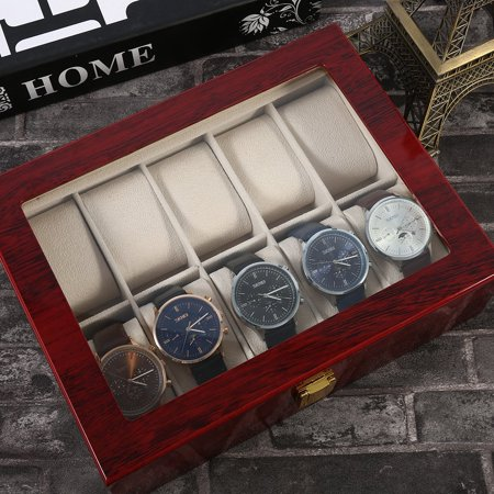 Practical 10 Grids Wooden Watch Box Jewelry Display Collection Storage Case - image 8 de 11