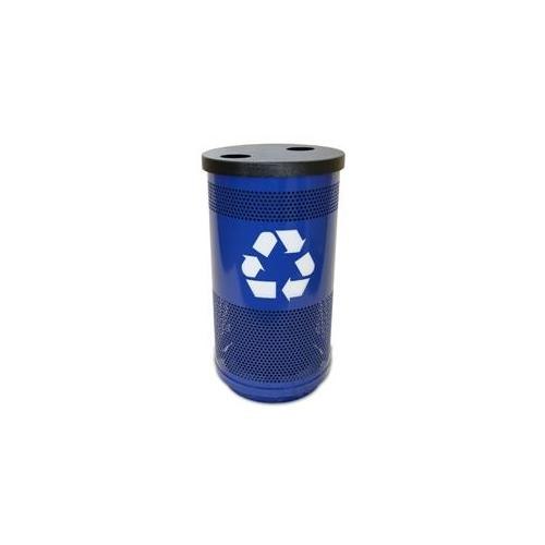 Witt Industries SC35-02-BL-F1H Stadium Series Recycling Perforated Recycling Receptacle Outdoor