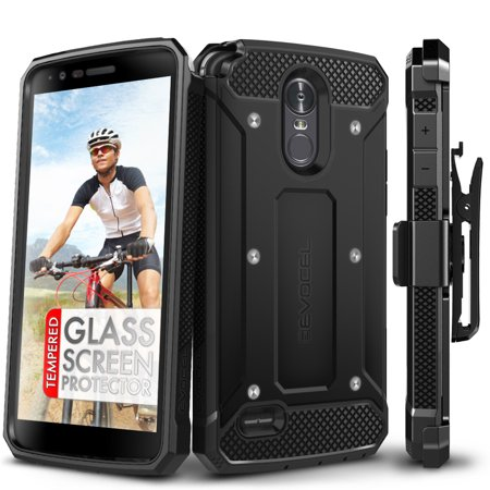 LG G Stylo 3 Case, Evocel [Glass Screen Protector] [Belt Clip Holster] [Full Body] [Slim Profile] [Porthole Covers] Explorer Series Phone Case for LG G Stylo 3 (2017 Release), Black](black friday deals on phone cases)
