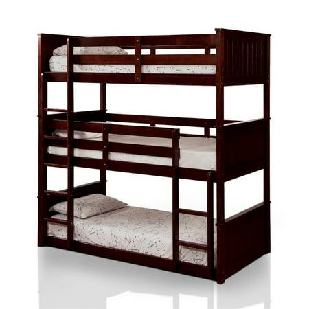 Furniture Of America Dorian Twin Triple Decker Bunk Bed In Espresso