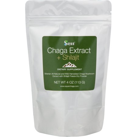 Sayan Siberian Chaga Mushroom Extract with Shilajit Powder 4Oz/113g –Powerful Antioxidant Fulvic Acid Supplement –Immune System Health Booster, Inflammation Reduction +All Natural Yeast