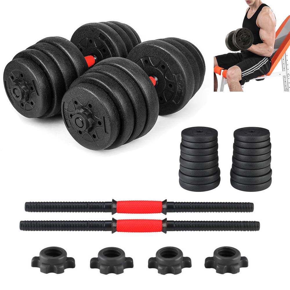 Unfilled Weight Dumbbell Set Adjustable Cap Gym Barbell Plates Body Workout