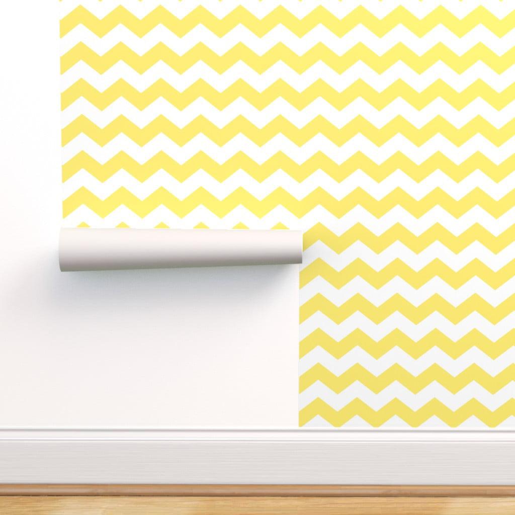 Peel-and-Stick Removable Wallpaper Chevron Yellow White ...