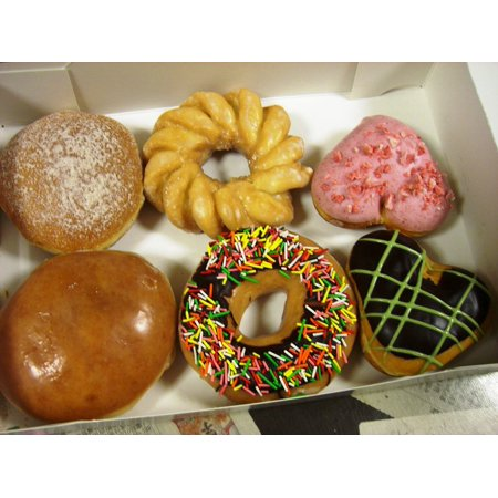 Donut Box - Canvas Print Variety Donuts Sweet Chocolate Box Doughnuts Stretched Canvas 10 x 14