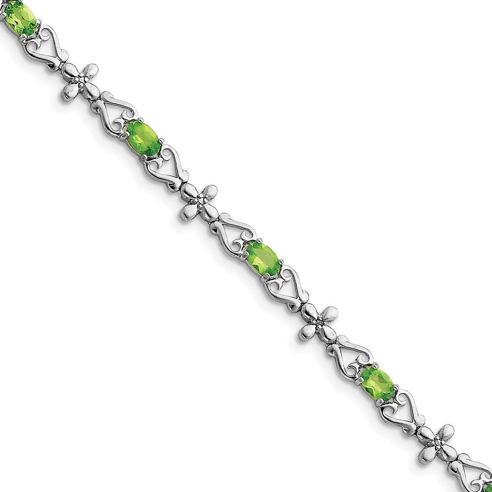 Sterling Silver Peridot & Diamond Bracelet by