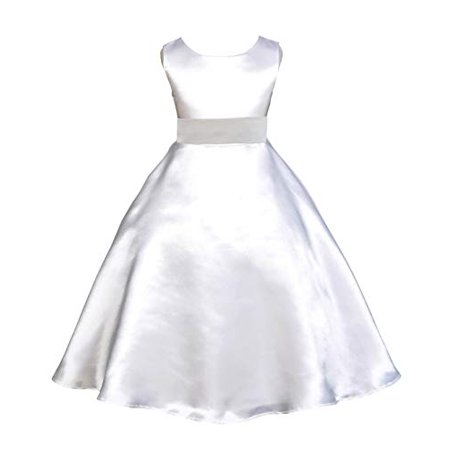Ekidsbridal White Satin A-Line Flower Girl Dress Birthday Girl Dress Christening Dresses First Communion Dress Holy Baptism Dress Junior Bridesmaid Dress Special Occasion Dresses Holiday Dresses 821S (White Girl Dresses)