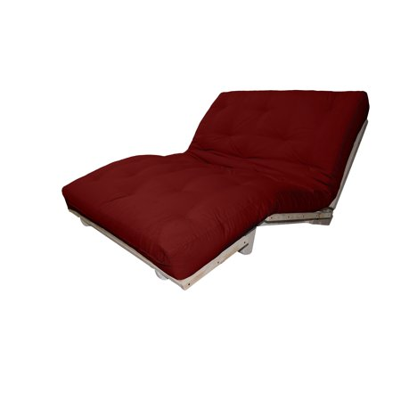 Lounger True 6-Inch Cotton/Foam Sit, Lounge, or Sleep Futon Sofa Sleeper Bed, Twin-size, Unfinished Frame, Twill Red