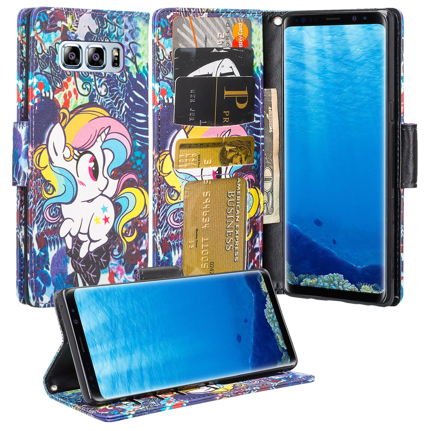Samsung Galaxy Note 8 Case, Faux Leather Wallet Case Combo, Tempered Glass Screen Protector, Kickstand Wrist Strap Wallet Cover - Rainbow Unicorn