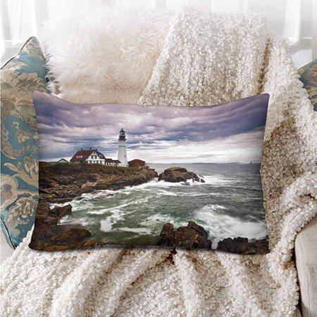 GCKG Portland Head Lighthouse Atlantic Ocean Waves Rocky Coast Pillow Cases Pillowcase 20x30 inches - image 1 de 4