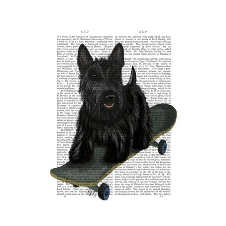Scottish Terrier and Skateboard Print Wall Art By Fab Funky
