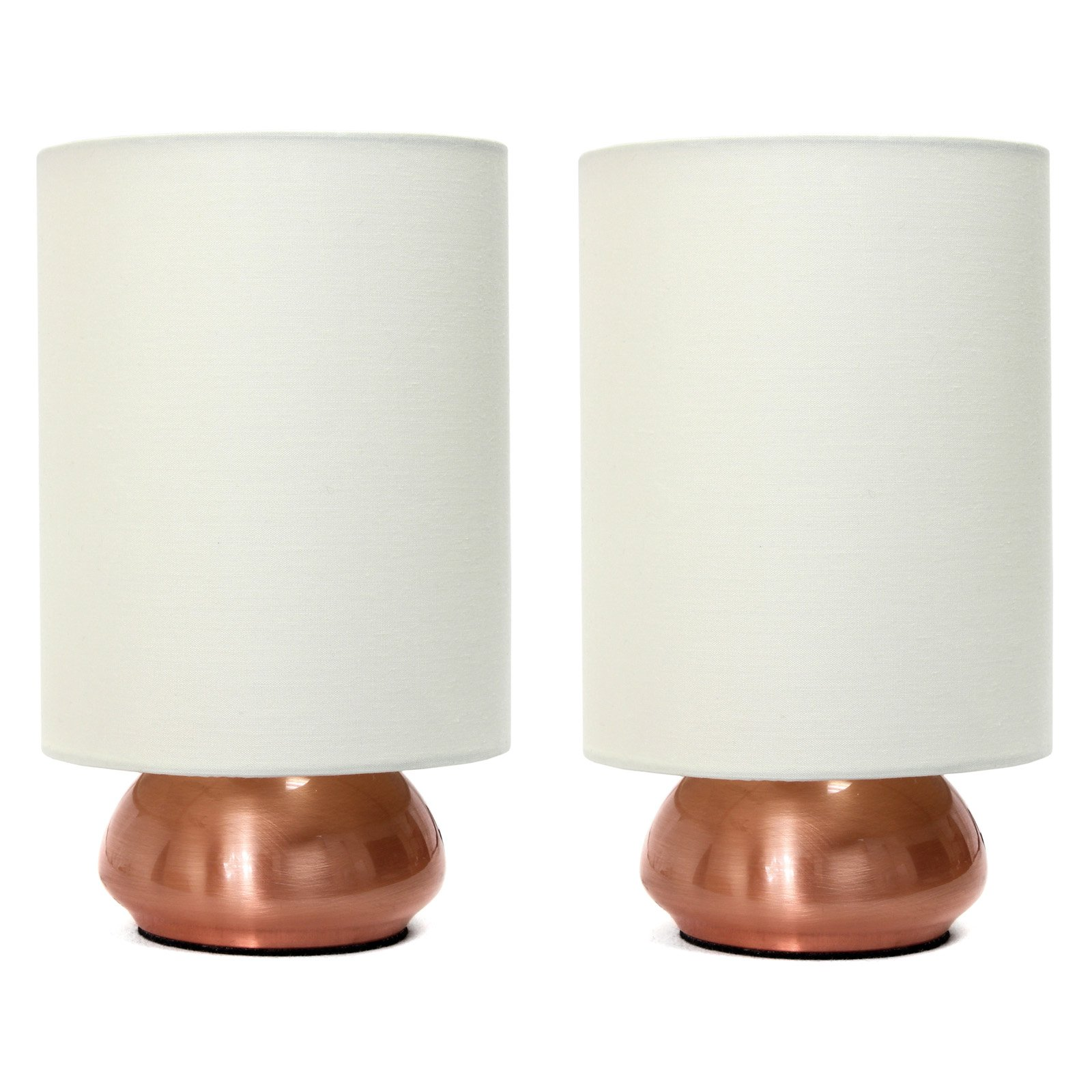 Simple Designs Gemini Mini Touch Table Lamp Set with Fabric Shades by All the Rages