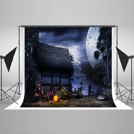 MOHome Polyester Fabric Haunted Night Selfie Party Stylish Luxurious Backdrop Studio Props for Halloween pour Toussaint 7x5ft - Halloween Et Toussaint