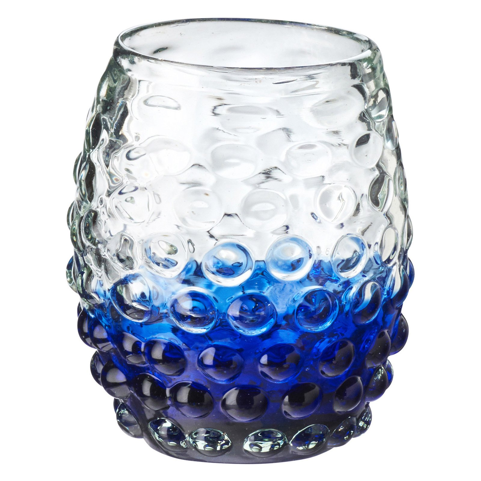 Catalina Ombre Hobnail Double Old Fashioned Glass, Aqua, Set of 4, 12 oz