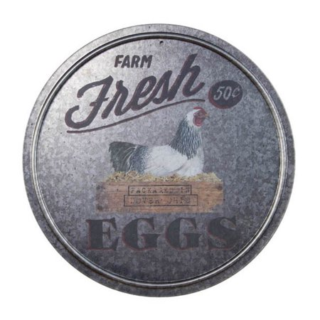 Farm Fresh Eggs Round Advertising Sign Galvanized Metal - Metal Signs Wholesale