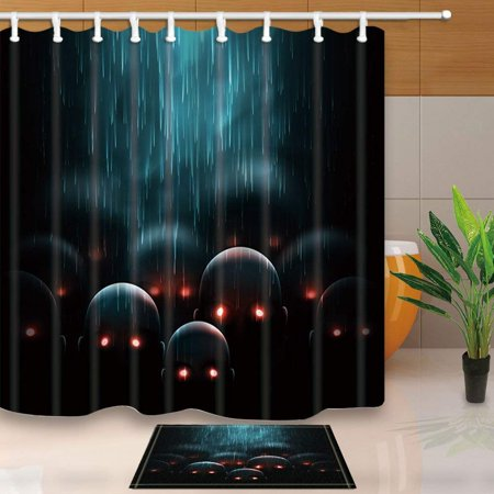 BPBOP Halloween Decor Horrifying Zombie Apocalypse Mystic Background Shower Curtain 66x72 inches with Floor Doormat Bath Rugs 15.7x23.6 inches](Horrifying Halloween Pics)