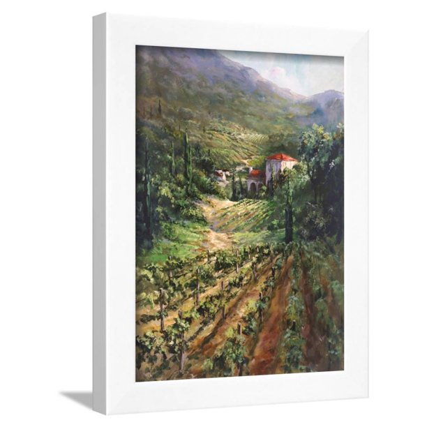 Tuscany Vineyard Italian Country Landscape Painting Framed Print Wall Art By Art Fronckowiak Walmart Com Walmart Com