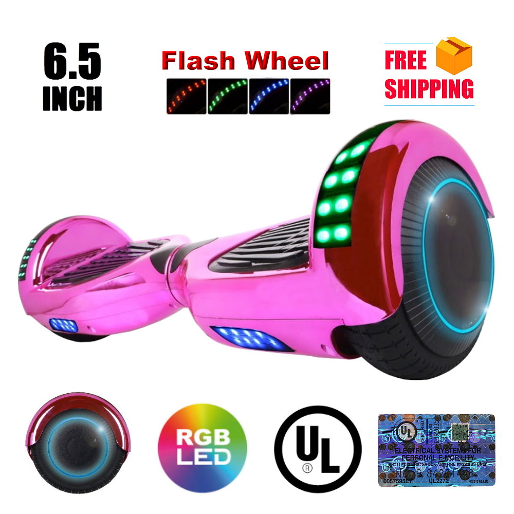 """UL2272 Certified TOP LED 6.5"""" Hoverboard Two Wheel Self Balancing Scooter New Chrome Pink"""