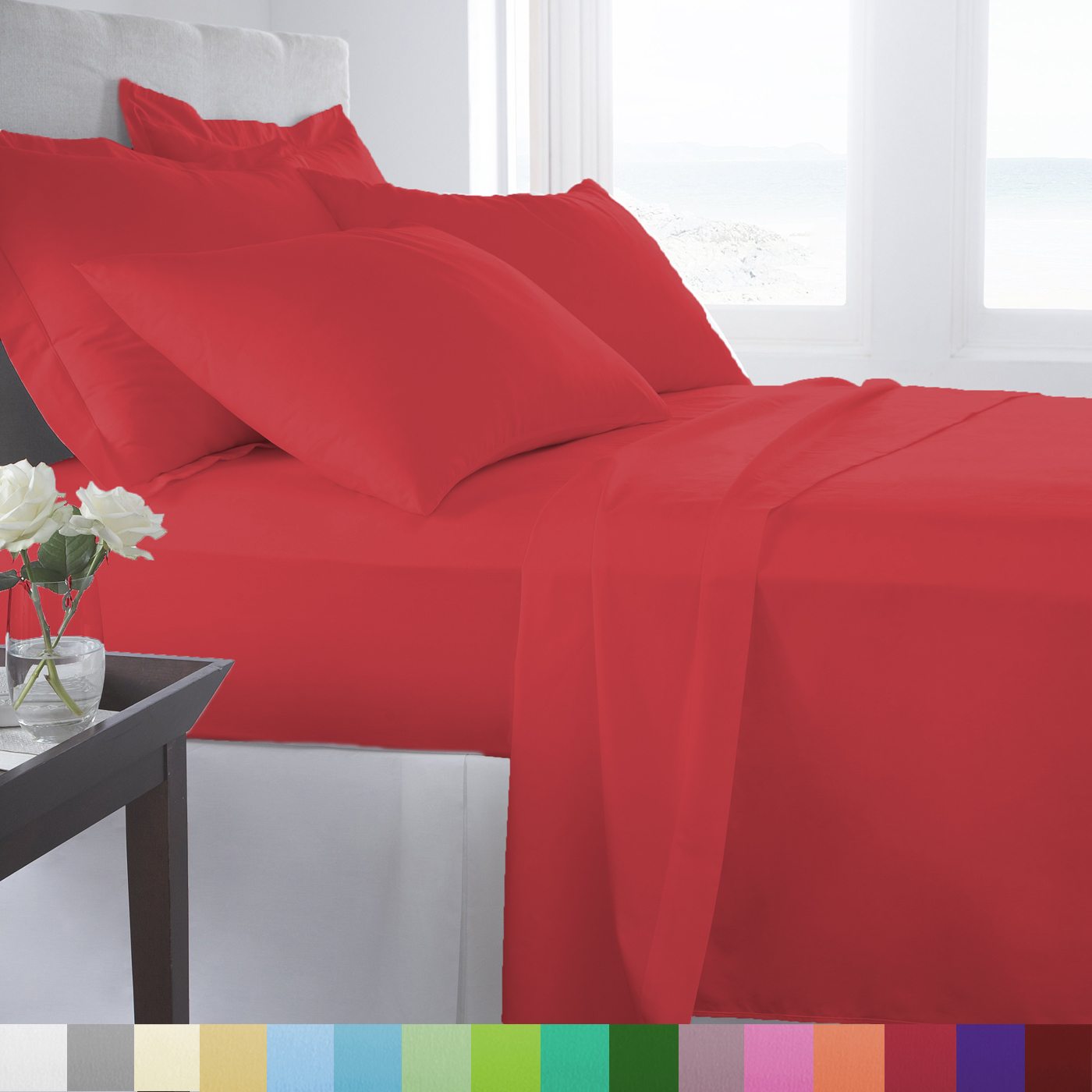 Supreme Super Soft 4 Piece Bed Sheet Set Deep Pocket Bedding - All Colors Sizes