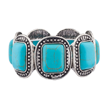 Lux Accessories Boho Turquoise Stone Stretch Bracelet ()