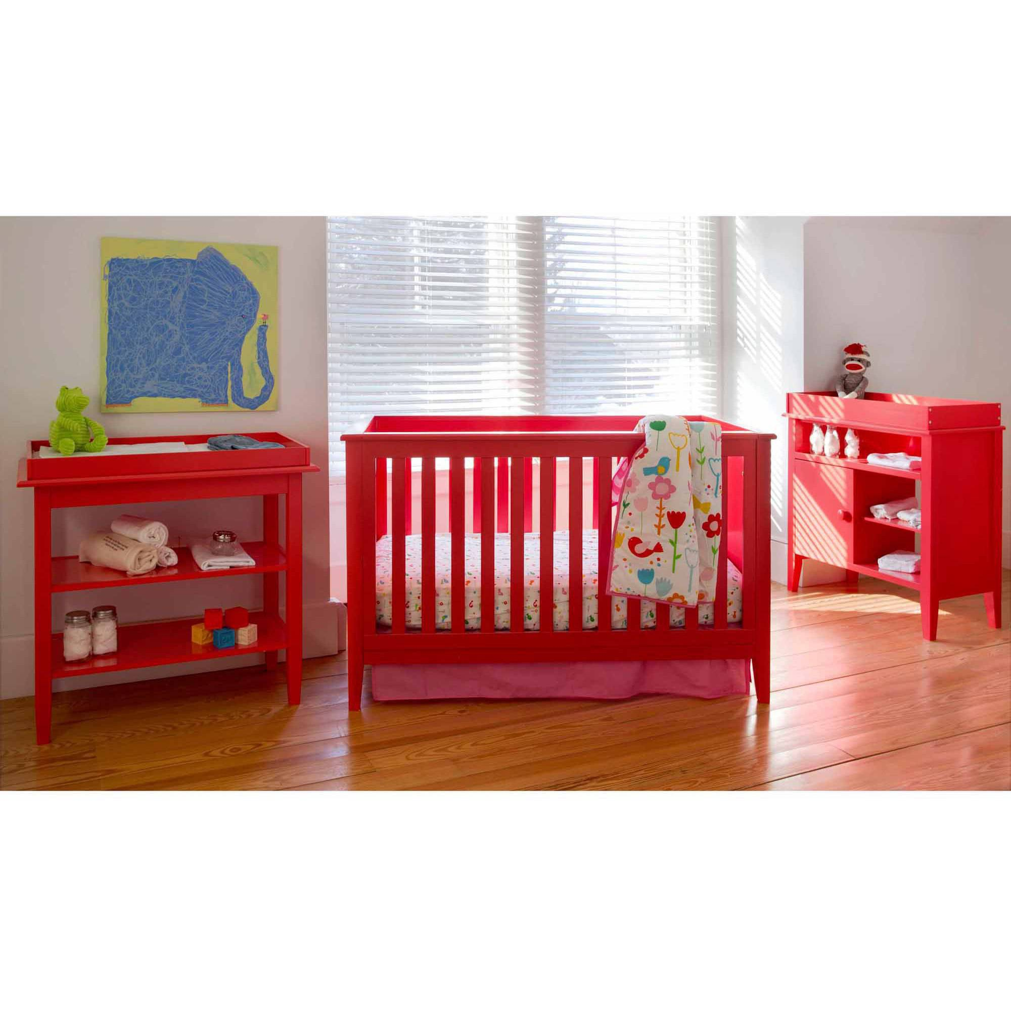 Lolly & Me Color Me 3-in-1 Convertible Crib Lollipop Red