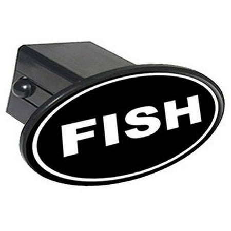 Fish euro oval white on black fishing 2 oval tow trailer for Fish hitch cover